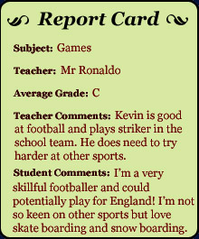 Report Card - Games